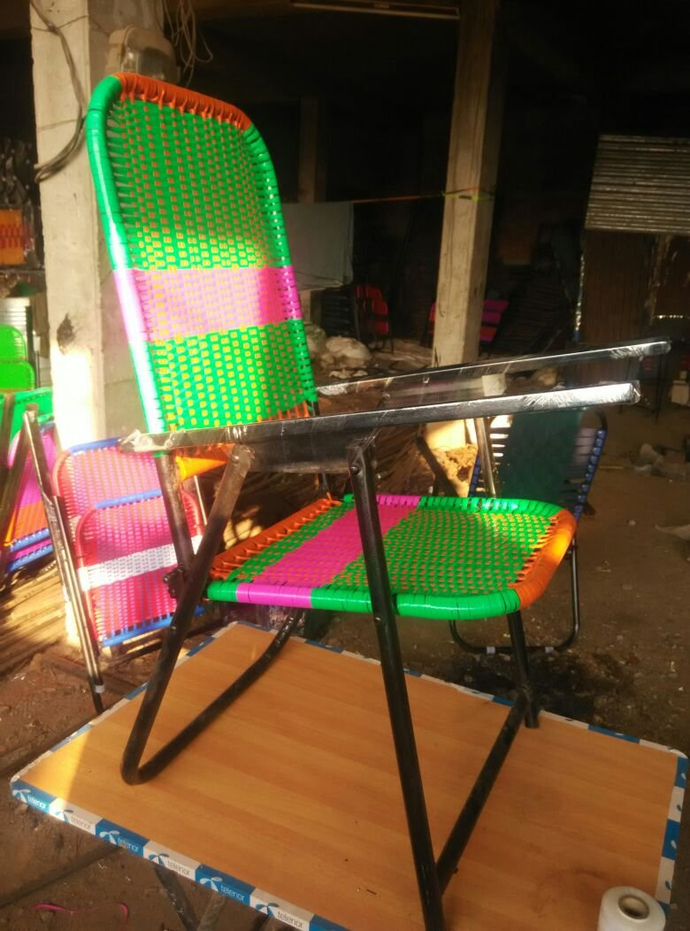 STUDY CHAIR Hallow Iron and Nawar Combo of Study Pad and Wire
