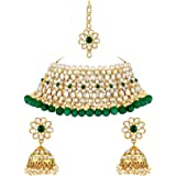 Spargz Bridal Floral Gold Plated Kundan Collar Necklace Set for Women AINS_355