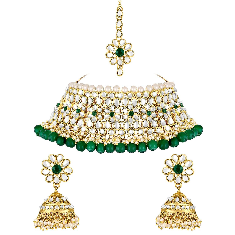 Spargz Bridal Floral Gold Plated Kundan Collar Necklace Set