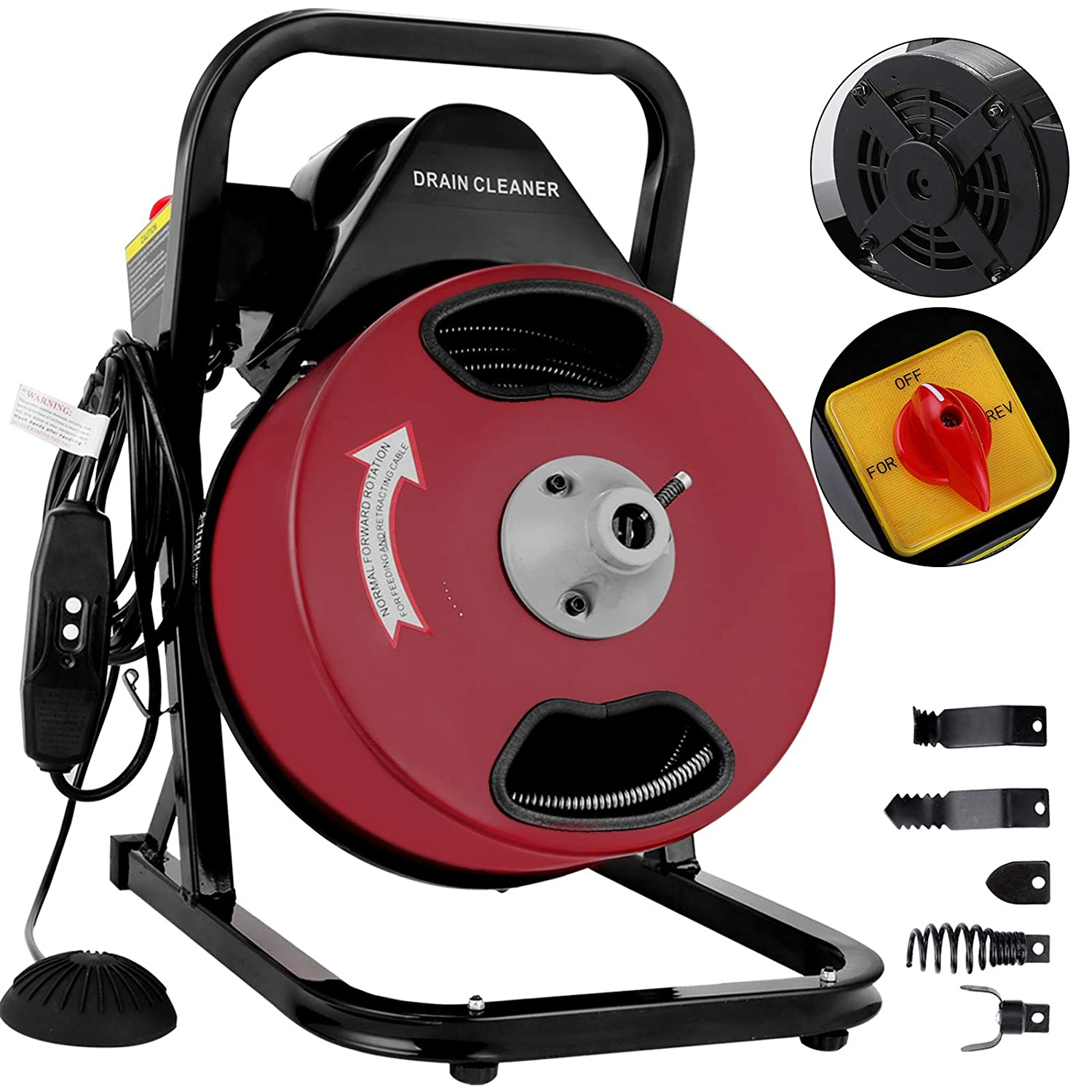 """VEVOR 50 Feet by 1/2 Inch Electric Drain Auger with 4 Cutter & Foot Switch Drain Cleaner Machine Sewer Snake Drill Drain Auger Cleaner for 1"""" to 4"""" Pipes (50 Ft x 1/2 Inch)"""