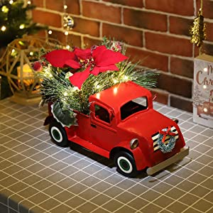 N/H Emadgift Lit-Up Holiday Vintage Red Truck Decor with LED Lights Handmade Metal Car Model for Christmas Decoration and Tabletop Decor