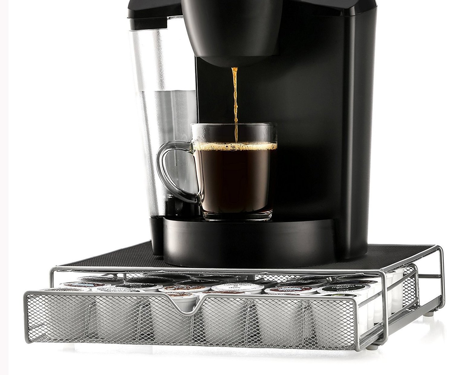 iHim K Cup Storage Organizer Holds for Coffee Brewing Machine K-cup Pods Drawer Holds 36 Capsules Rack Black