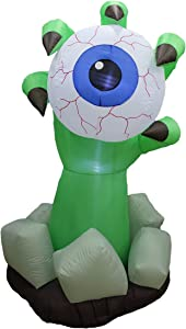 6 Foot Halloween Inflatable Monster Hand with Blue Eyeball Party Decoration LED Lights Decor Outdoor Indoor Holiday Decorations, Blow up Lighted Yard Decor, Giant Lawn Inflatable Home Family Outside