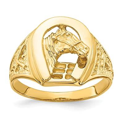 Boutique en ligne 1f441 cfbc1 14 K Pulido anillo de herradura con caballo en el centro, 14 ...
