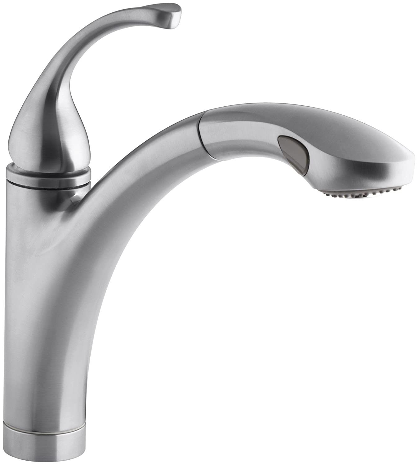 KOHLER K-10433-G Forte Single Control Pull-out Kitchen Sink Faucet, Single Lever Handle, 1-hole or 3-hole installation, Brushed Chrome, 2-function Spray Head