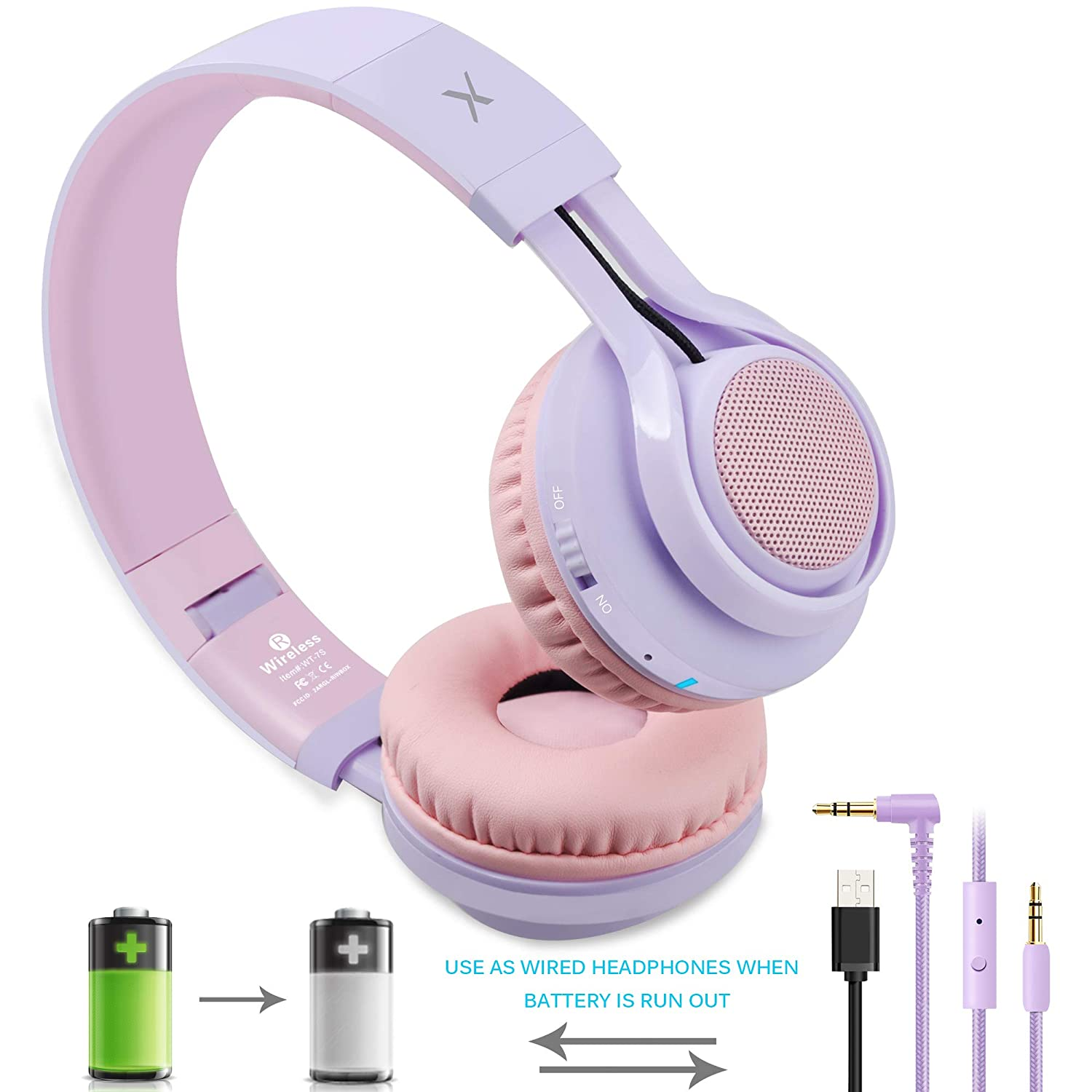 Foldable Stero Wireless Headset with Microphone and Volume Control ...