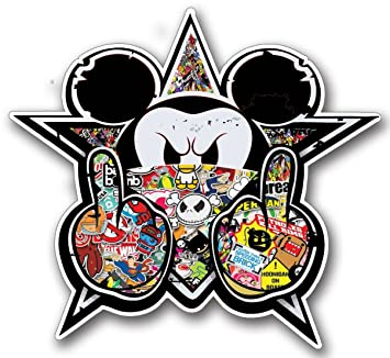 Pegatina de Mickey, estilo sticker bomb, JDM tradicional, para tunear monopatines, tablas