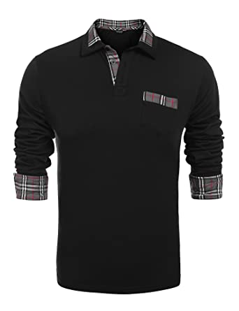 a2a4305e COOFANDY Men's Classic Fit Casual Long Sleeve Plaid Collar Polo Shirt, Long  Sleeve Black,