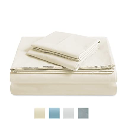 Trident 300 Thread Count Sheet Set, 100% Cotton, Percale Weave, Peach  Finish, 4 Piece Sheet Set, Techno-fit, Trivana Collection (Vanilla Ice,  Queen)