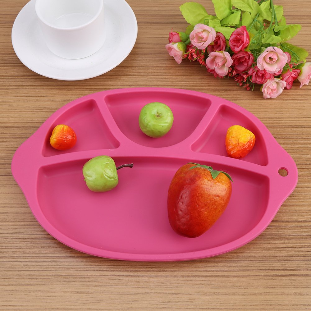 Re-Play Divided Plates Feeding Tableware BPA Free Dishwasher Micro Fridge Safe Skidproof Unbreakable Kids Feeding Tray with Dividers Pink Silicone Plates