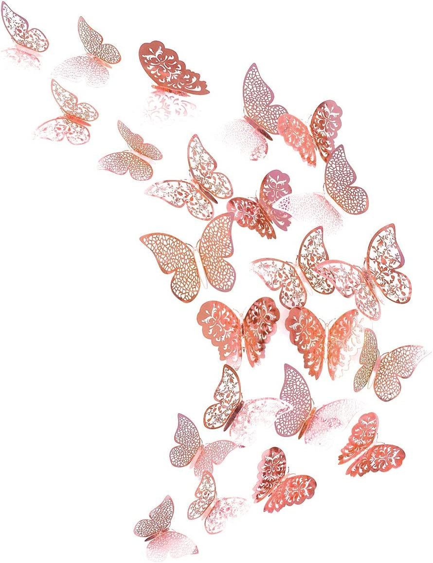 Gold// Rose Gold Color Silver Tone 48Pcs 3D Butterfly Decals Wall Stickers Set