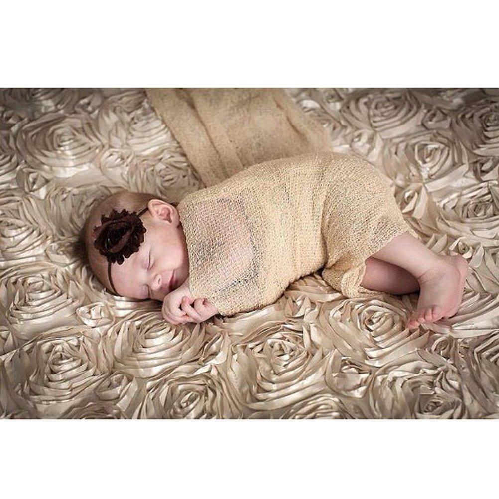 Tinksky Newborn Baby Photography Photo Prop Stretch Wrap Baby Long Ripple Wrap Beige