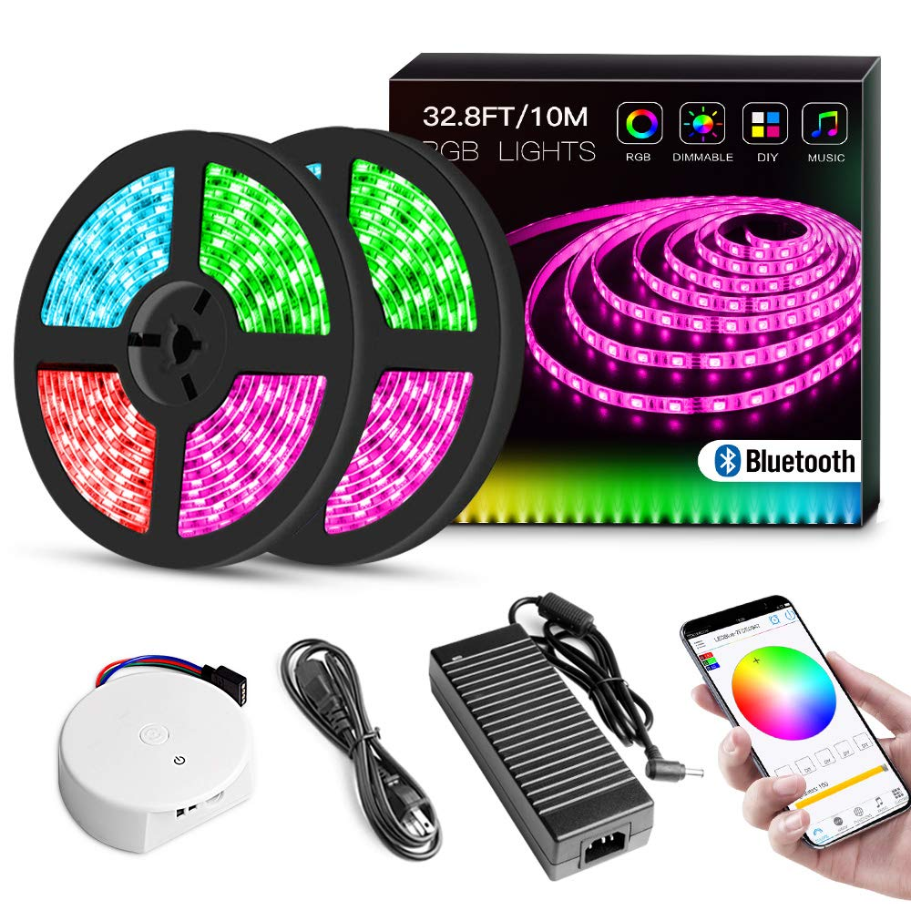 Music LED Strip Lights with App, 32.8Ft RGB DC 24V Bluetooth Light Strips, Color Chaning SMD5050 600 LEDs, Dimmable, Waterproof Flexible Rope Lighting Full Kit with Adhesive, Supply for Home Kitchen