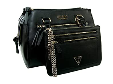 1324a93f176 Image Unavailable. Image not available for. Color  New Guess Logo Purse  Hand Bag Crossbody Satchel   Big Wristlet Set 2 Piece Black