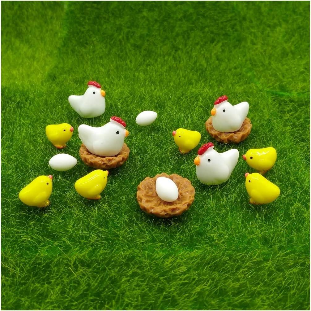 EMiEN 16 piezas gallinas pollos familia adorno de en miniatura kits set de bricolaje jardín de hadas Dollhouse Decoración, huevos en miniatura Adorno de jardín de hadas planta decoración