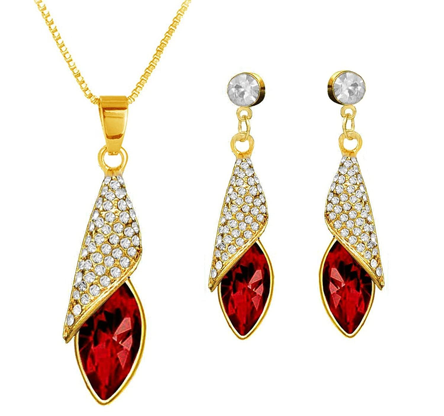 Buy gold plated red designer swarovski pendant earring set for buy gold plated red designer swarovski pendant earring set for women by eterno fashions online at low prices in india amazon jewellery store amazon mozeypictures Choice Image