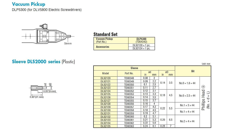 2.5 mm ID Nitto Kohki TD00350 Vacuum Pickup Sleeve DLS2122 3.5 mm OD