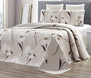 """GrandLinen 3-Piece Fine Printed Oversize (115"""" X 95"""") Quilt Set Reversible Bedspread Coverlet King Size Bed Cover (Taupe, Brown, White Tulip Floral)"""