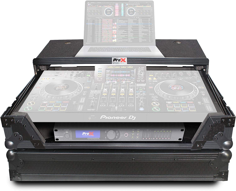 ProX XS-XDJXZ WLTBL Flight Case for Pioneer DJ XDJ-XZ With Glide Sliding Laptop Shelf and Wheels - Black on Black Design