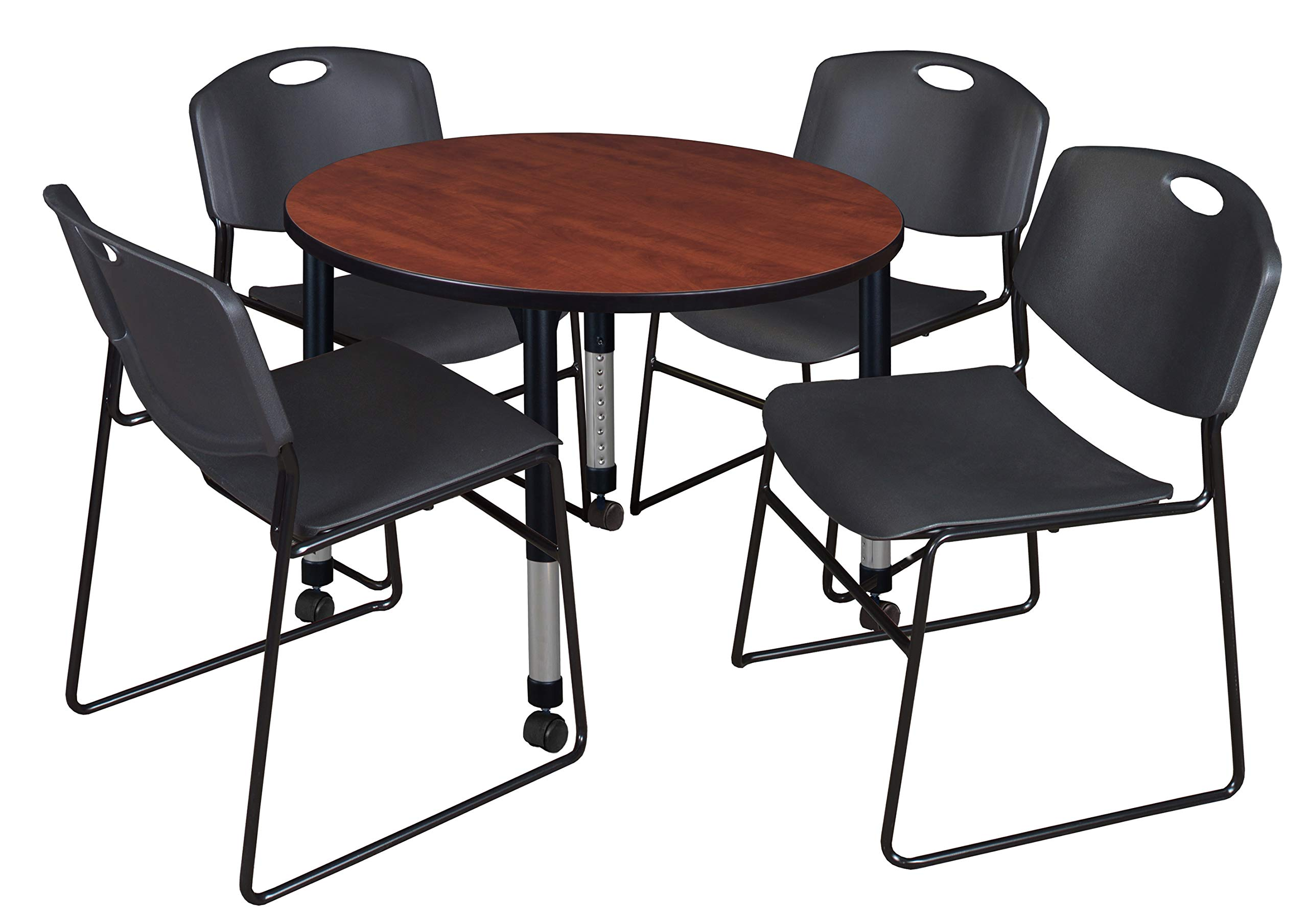 Regency TB42RNDCHAPCBK44BK Kee Height Adjustable Mobile Classroom Table Set with Four Zeng Chairs 42'' Cherry/Black