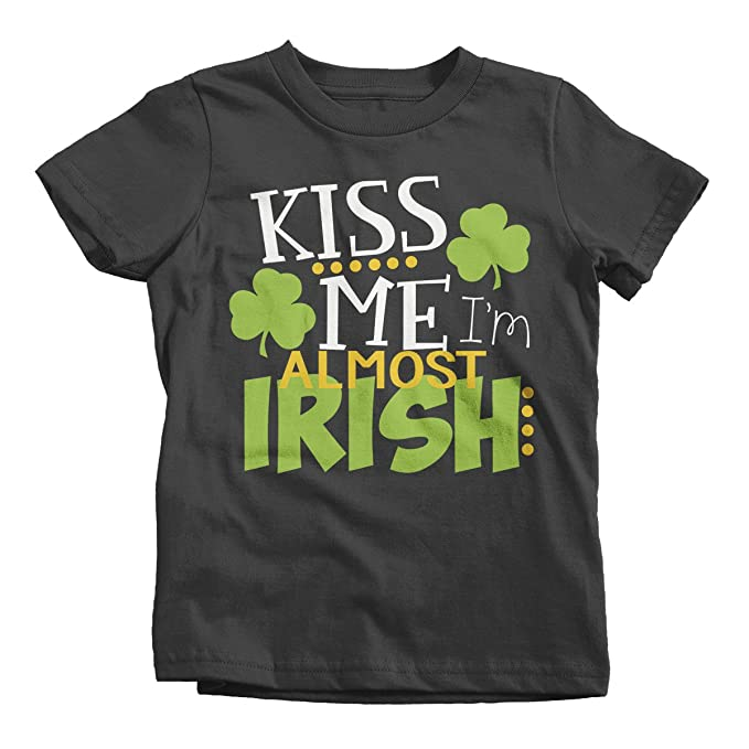 04e2a328 Shirts By Sarah Youth Funny ST. Patrick's Day T-Shirt Kiss Me Almost Irish