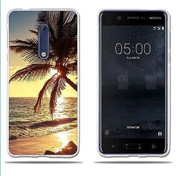 fubaoda Funda Nokia 5 Carcasa Protectora de Silicona Hermoso Atardecer de Playa,Resistente a Golpes,Resiste a los Arañazos Carcasa Completamente ...