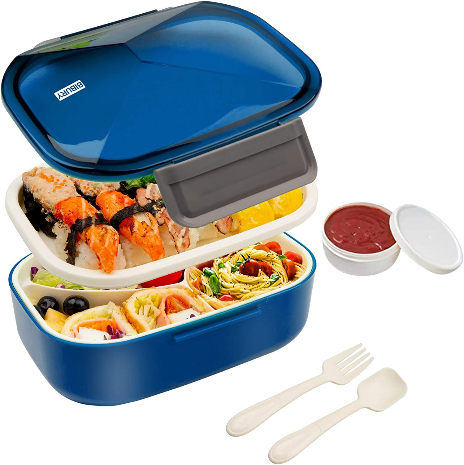 Bento Box, Upgraded Leakproof Lunch Box for Kids Adults, Food Container with 4 Compartments, Cutlery and Fruit/Yogurt Pot Set, Microwave and Dishwasher Safe Meal Prep Containers, 1.7L