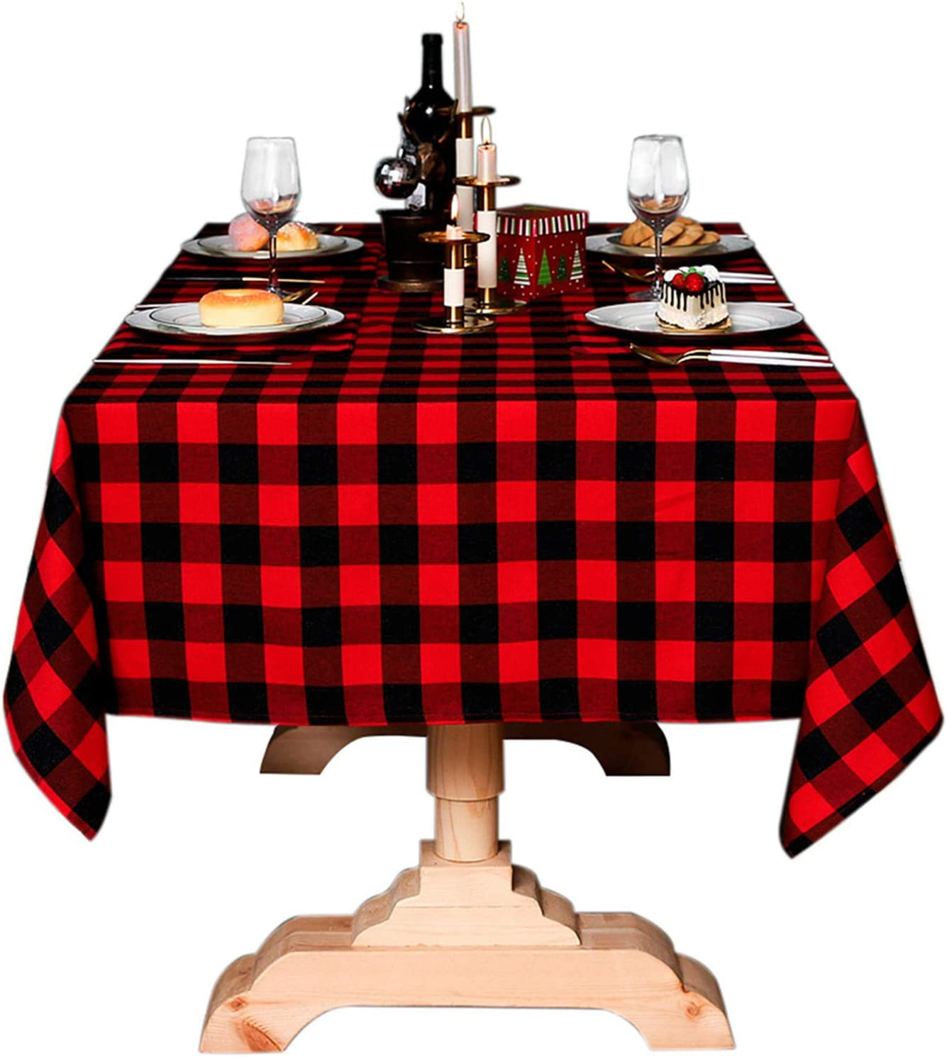 Buffalo Check Christmas Tablecloth Cotton Linen Plaid Table Cloth for Christmas Party Wedding Table Decoration ( 55 x 40 Inch, Red & Black )