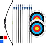 """iMay 45"""" Recurve Bow and Arrows Set Outdoor Archery Beginner Gift Longbow Kit with 9 Arrows 2 Target Face Paper 18 Lb…"""