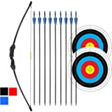 iMay 45' Recurve Bow and Arrows Set Outdoor Archery Beginner Gift Longbow Kit with 9 Arrows 2 Target Face Paper 18 Lb…