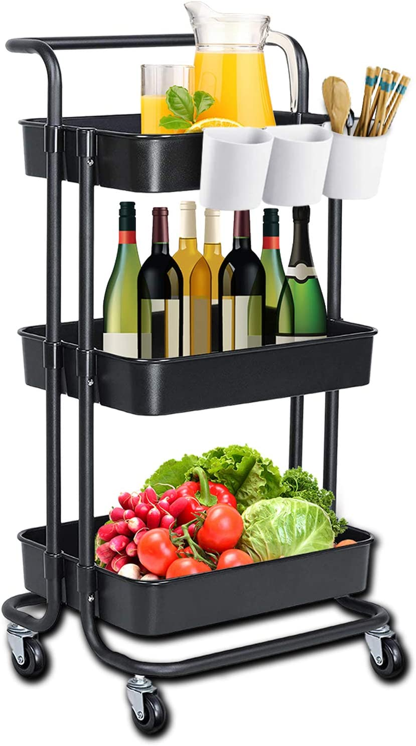 3-Tier Rolling Utility Cart,Storage Organizer Shelves Cart Multifunction Storage Trolley Service Cart with 3 Storage Buckets and Lockable Wheels,Easy Assembly for Bathroom, Kitchen, Office (Black)