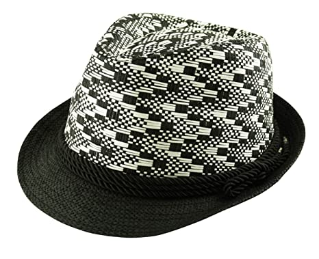 7b8b598b Itzu 100% Paper Straw Cross Weave Trilby Panama Hat Rope Band Unisex in  Natural Brown White Black: Amazon.co.uk: Clothing