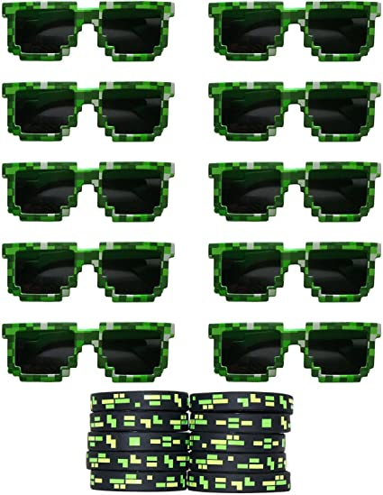 Pixel Shutter Glasses Pack of 12 Minecraft Inspired Party Bag Fillers