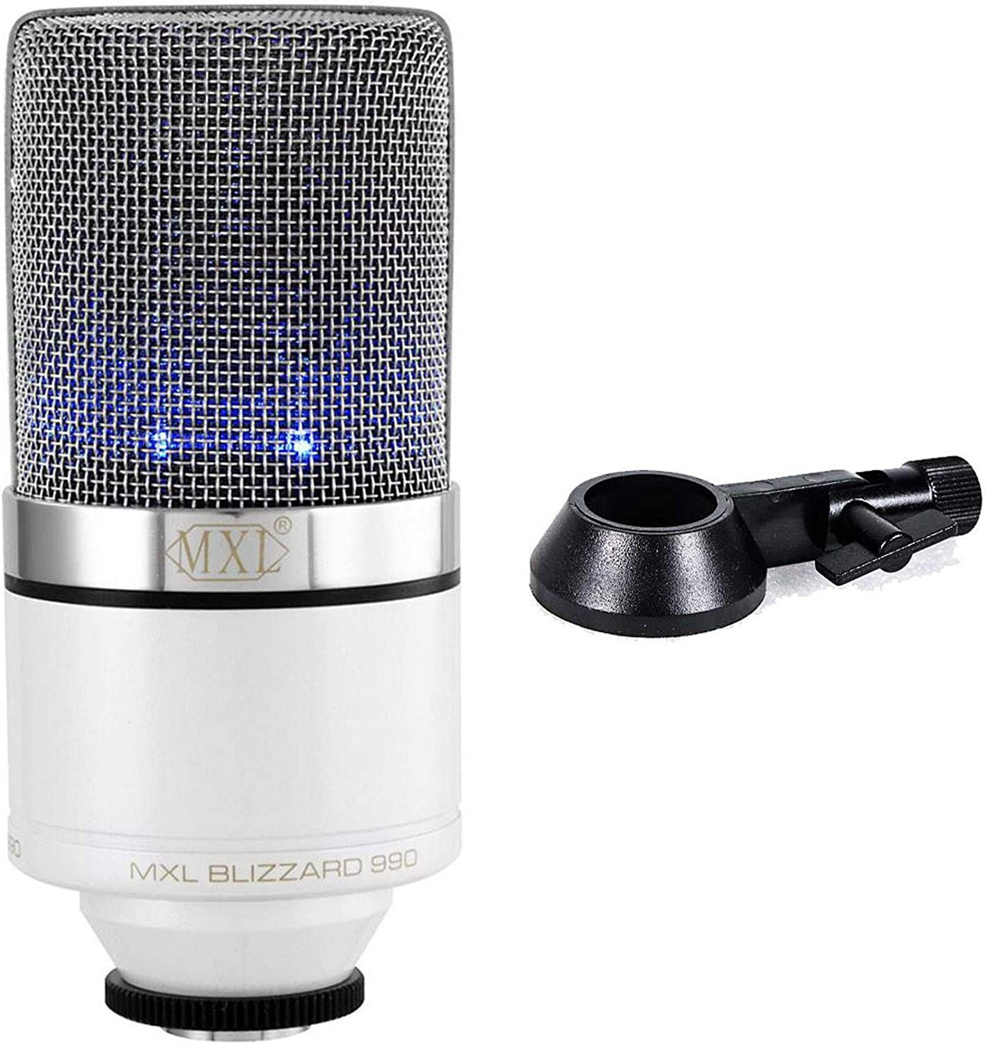 MXL Mics 990 Blizzard Condenser Microphone with Blue LED Lights for Podcasting, Voice Overs, Studio Recordings