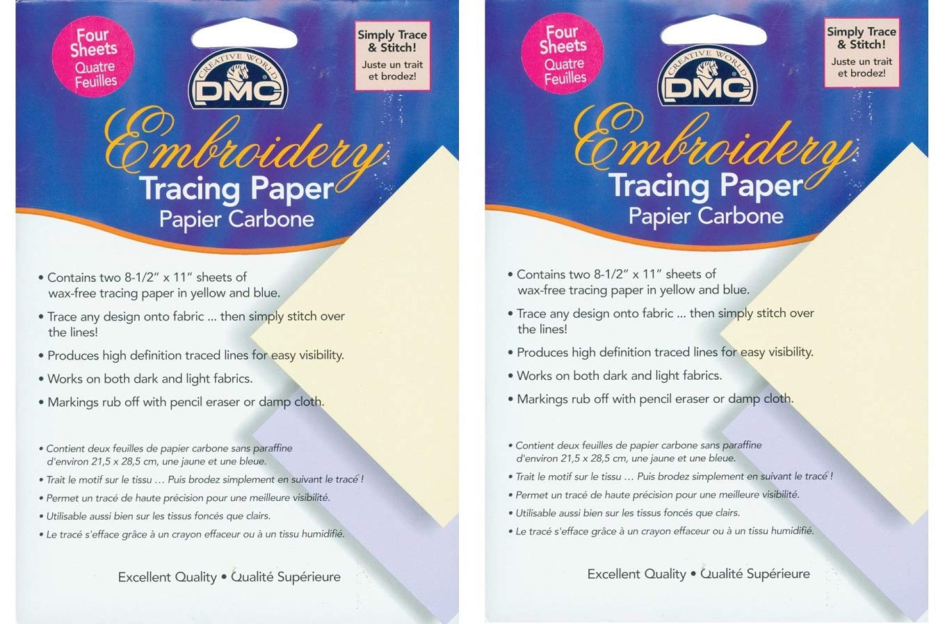 DMC U1541 Embroidery Tracing Paper 4-Sheets 3 Pаck Yellow//Blue