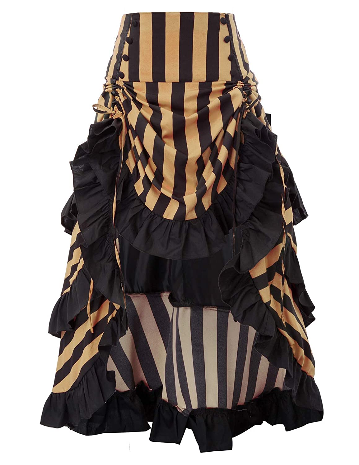 Steampunk Skirts | Bustle Skirts, Lace Skirts, Ruffle Skirts Belle Poque Striped Steampunk Gothic Victorian High Low Skirt Bustle Style $37.99 AT vintagedancer.com