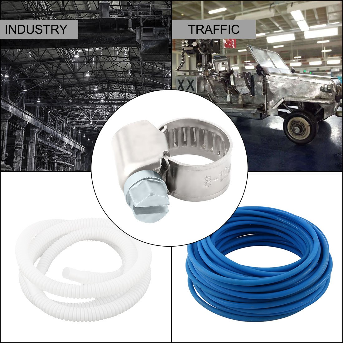 5//16-1//2 Inch Dia Pack of 10 a17121100ux0100 uxcell Stainless Steel Adjustable Worm Drive Gear Clip Clamping Range Hose Clamp