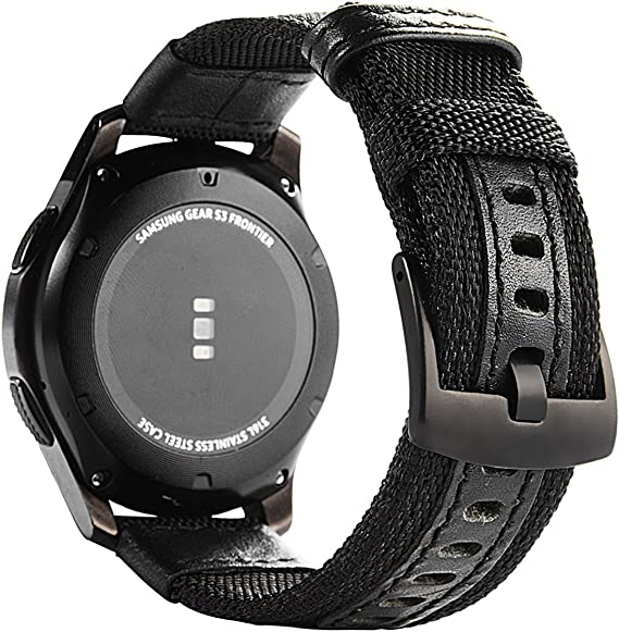Galaxy Watch 46mm Bands, Maxjoy Gear S3 Frontier Classic Nylon Band, 22 mm Quick Release Replacement Strap Large Sport Wristband with Metal Buckle ...