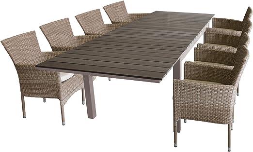 Mobiliario de jardín mesa extensible Jardín Mesa 160/210/260 x 95 cm, aluminio, polywood, champán/