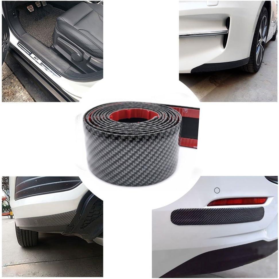 ZaCoo 3D Carbon Fiber Rubber Car Door Sill Protector Guard Stickers Bumper Door Guard//Rear Bumper Guard Scratch Scratch Protection Strip Width 2 in, Long 6.56 ft