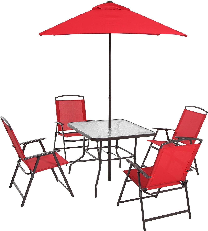 Mainstays Albany Lane 6-Piece Folding Dining Set, Red