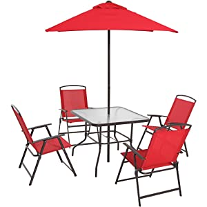 Mainstays Albany Lane 6-Piece Folding Dining Set, Red