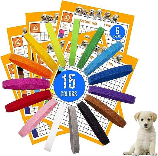 GAMUDA 15 Newborn Puppy Collars – Super Soft Nylon Whelping Puppy Collars - Adjustable Litter Collars for Pups – Assorted Colors & Identification Collars