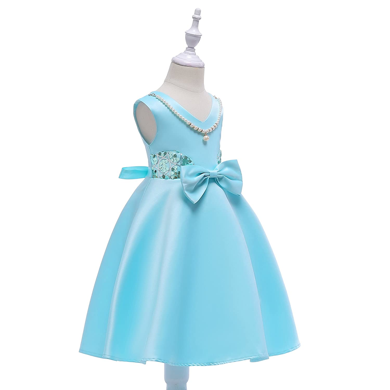 Amazon.com: IIYOYO Princess Flower Girls Dress Kids Cute Ball Gown ...
