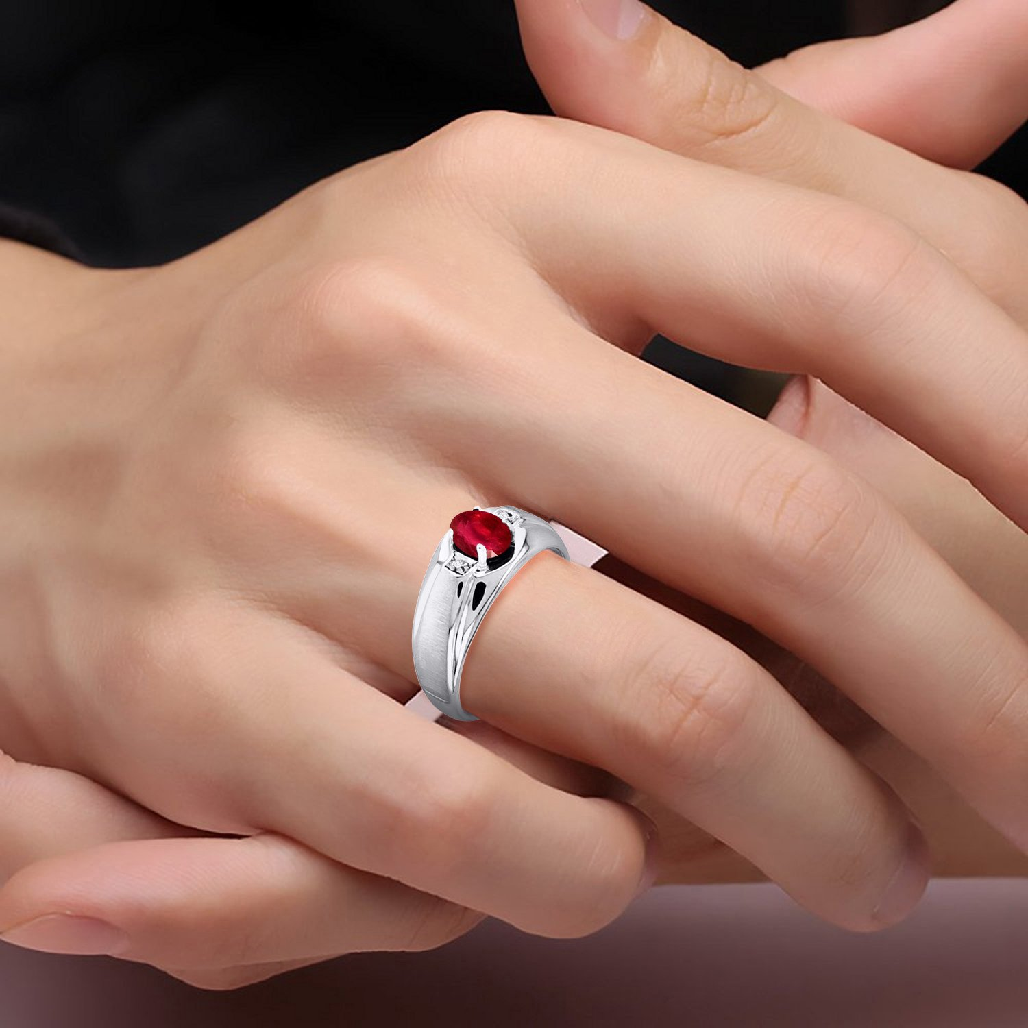 Genuine Ruby & Diamond Ring Set in Sterling Silver With Satin Finish