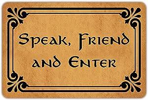 """Front Door Mat Welcome Mat Speak Friend and Enter Rubber Non Slip Backing Funny Doormat Indoor Outdoor Rug 23.6""""(W) X 15.7""""(L)"""