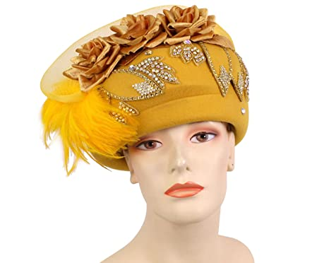 4510d62f27d Ms Divine Women's Wool Church Hats Formal Dress Hats #80442 (Gold ...