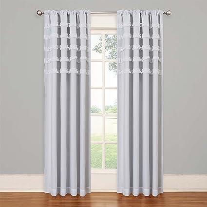Eclipse Kids 13748050X084WHI Ruffle Batiste 50 Inch By 84 Blackout Single Window Curtain