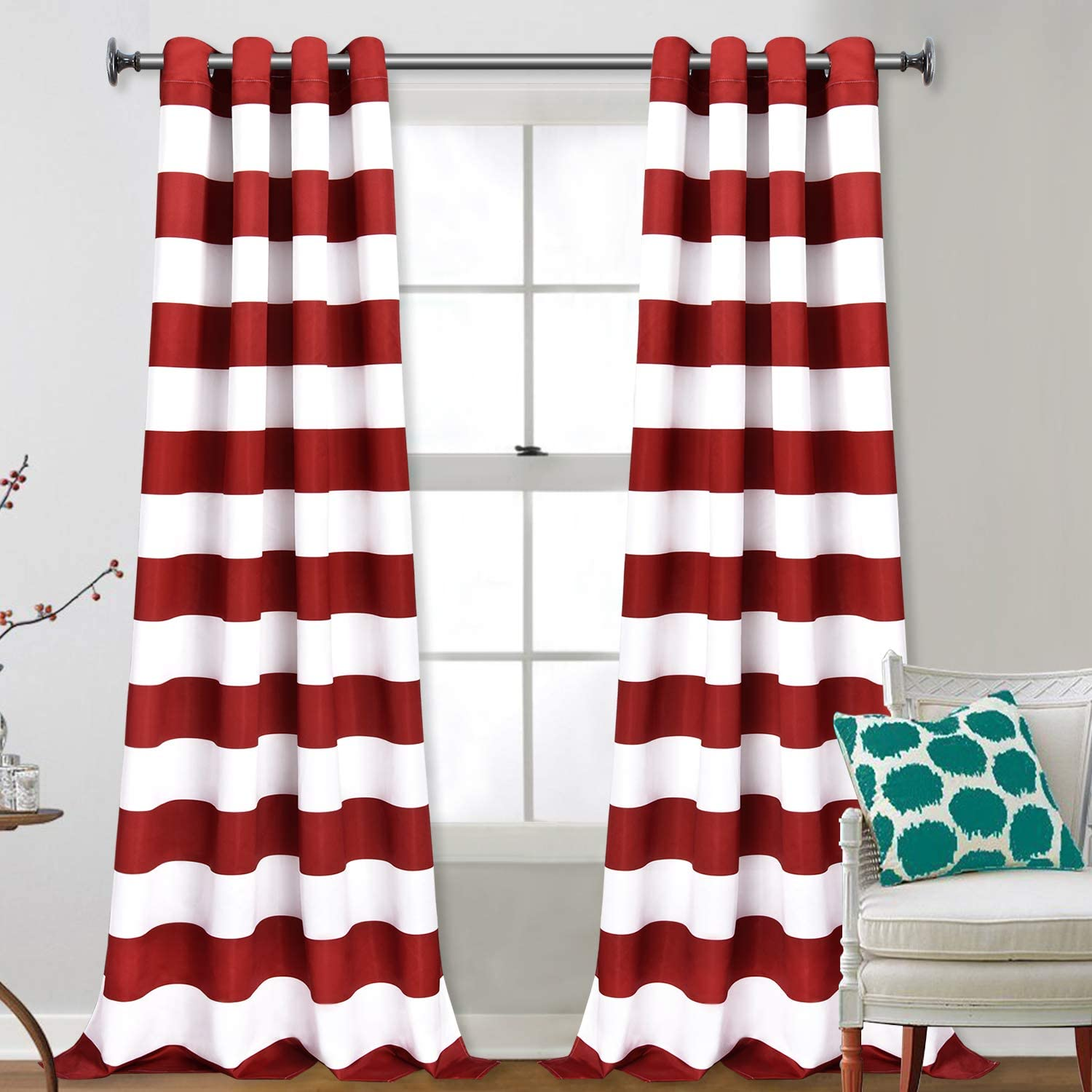 VERTKREA Stripe Window Curtain Striped Room Window Treatment Grommet Curtains 52 × 84 Inches Stripes Drapes for Bedroom Living Room, Red, Set of 2 Panels