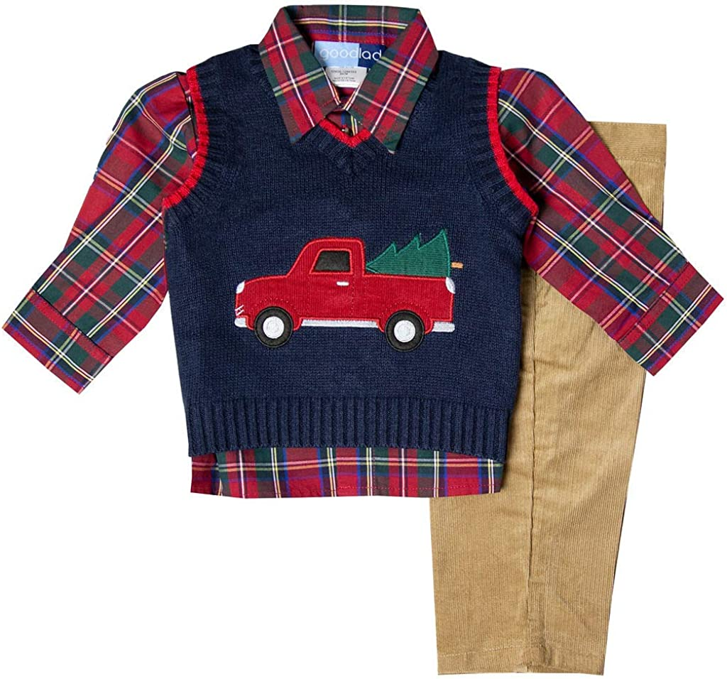 Toddlers NEW Red Christmas Holiday Sweater Vest Colorful Appliqued Train 3T /& 4T